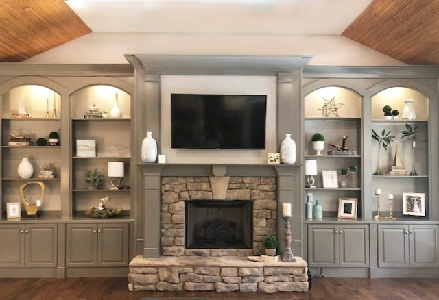Fire place at Living Room with LCD TV